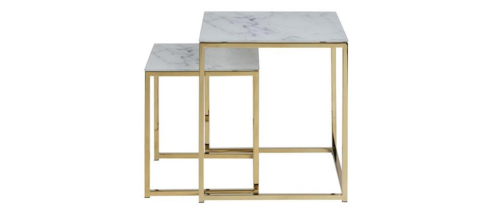 Tables basses gigognes carrées effet marbre et pieds métal SILAS
