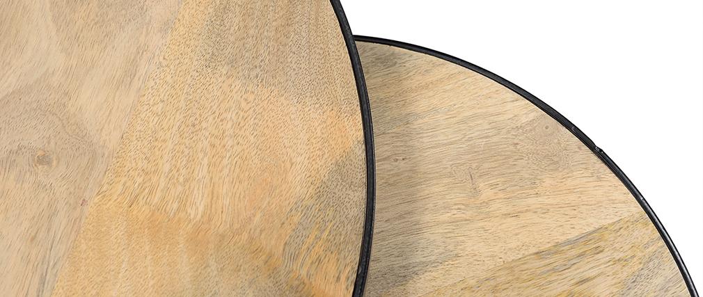 Tables basses gigognes manguier massif et métal BARREL