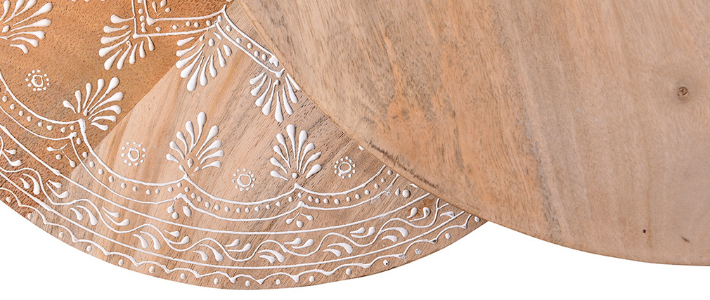 Tables basses gigognes manguier massif et métal TOGETHER