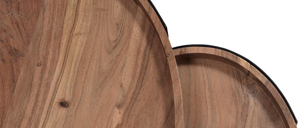 Tables basses gigognes métal et acacia massif ELAVO