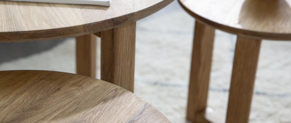Tables basses gigognes rondes en chêne massif (lot de 3) DANAKIL