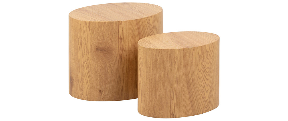 Tables basses ovales bois clair (lot de 2) WOODY