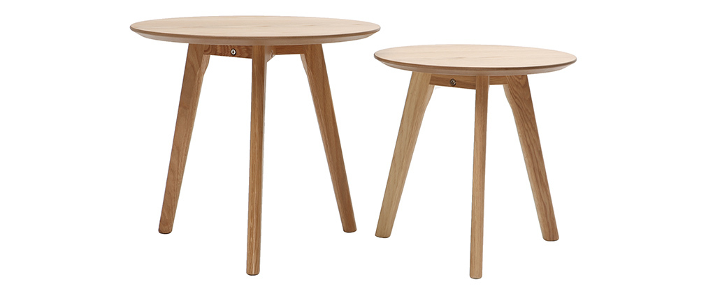 Tables d'appoint rondes chêne (lot de 2) ORKAD