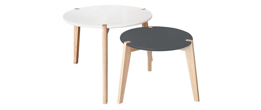 Tables gigognes design gris et blanc avec pieds bois clair (lot de 2) KOBE