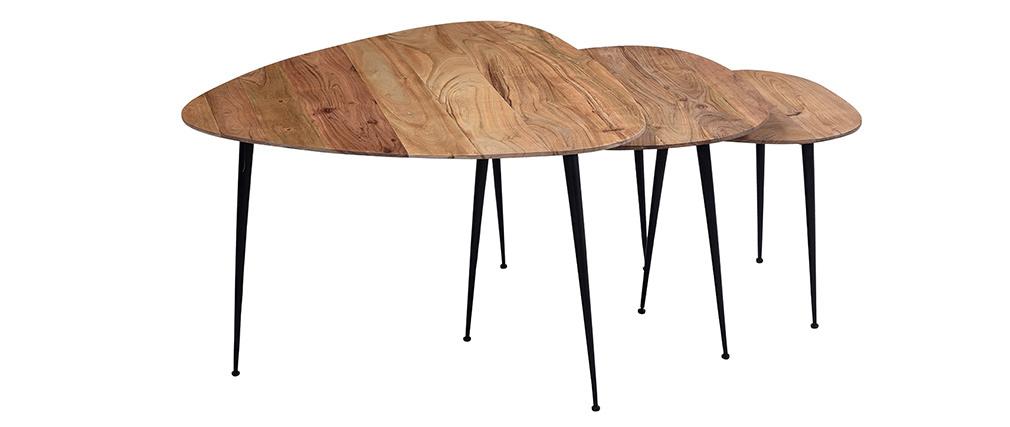 Tables gigognes en acacia massif et métal (lot de 3) STONES