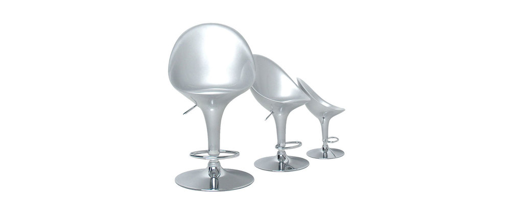 Tabouret de bar / cuisine argent design �UF (lot de 2)