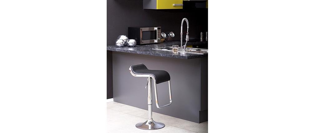 Tabouret de bar / cuisine noir design ANDROMEDE (lot de 2)