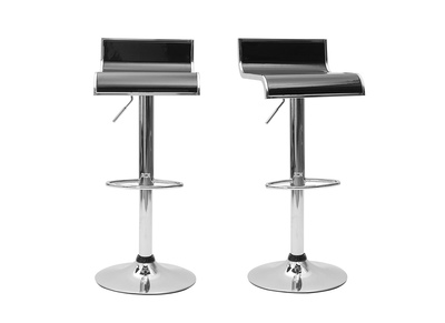 Tabouret de bar / cuisine noir WAVES (lot de 2)