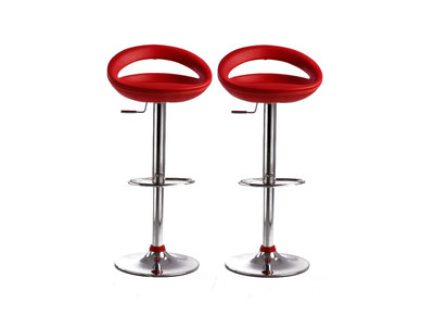Tabouret de bar / cuisine rouge moderne PVC COMET (lot de 2)