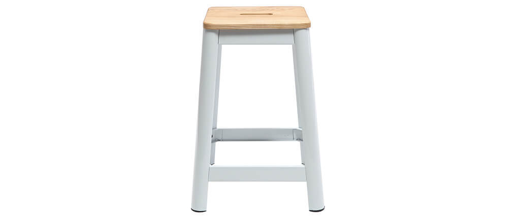 Tabouret de bar design blanc 65 cm NICK