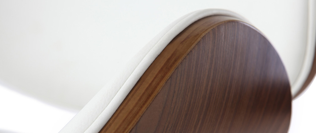 Tabouret de bar design blanc et bois foncé WALNUT