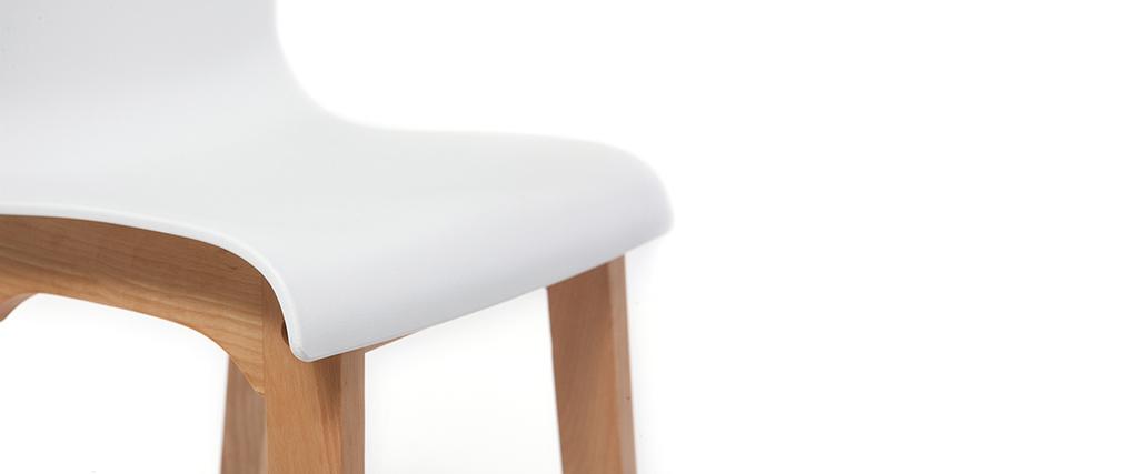 Tabouret de bar design bois et blanc 75 cm (lot de 2) NEW SURF
