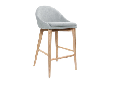 Tabouret de bar design bois polyester gris clair 65cm DALIA