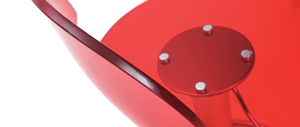Tabouret de bar design en plexiglas rouge transparent ORION