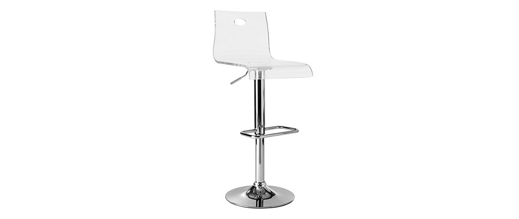 Tabouret de bar design en plexiglas transparent (lot de 2) SATURNE