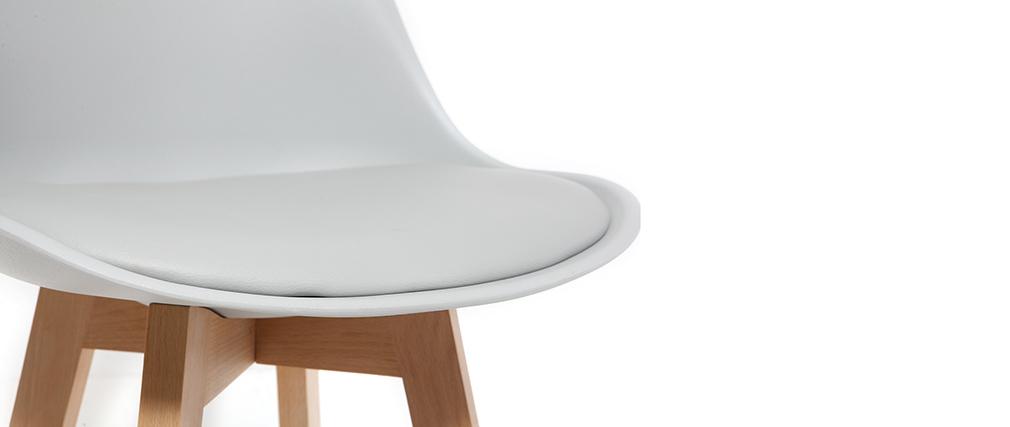 Tabouret de bar design gris clair et bois 75cm (lot de 2) PAULINE
