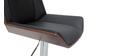 Tabouret de bar design noir et bois foncé MELKIOR