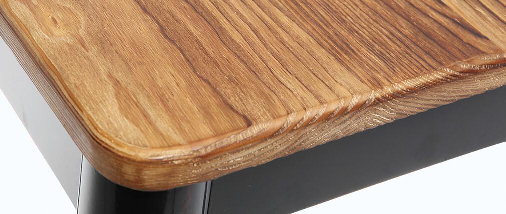 Tabouret de bar design noir et bois H75 cm NICK