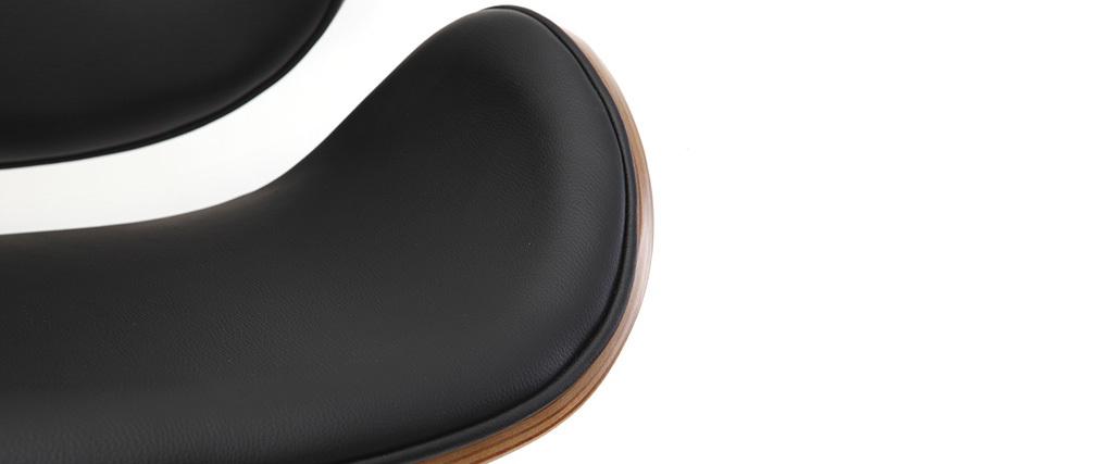 Tabouret de bar design noir et bois WALNUT