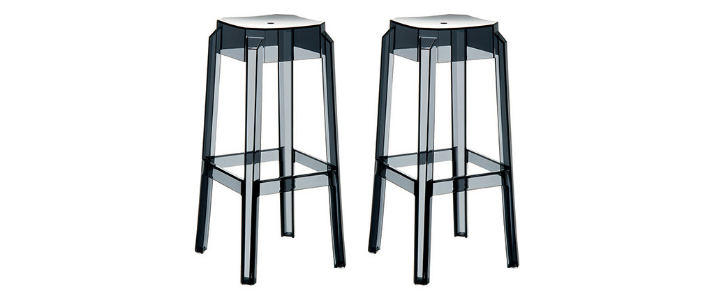 Tabouret de bar design noir transparent 65cm (lot de 2) CLEAR