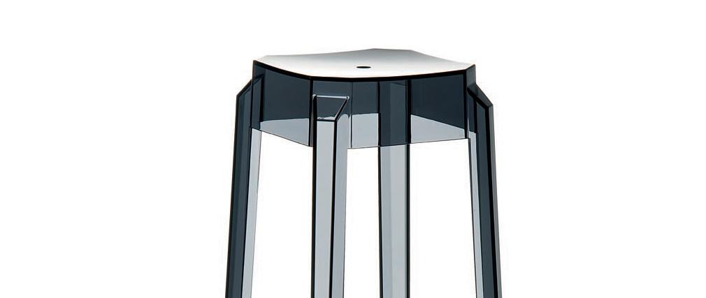Tabouret de bar design noir transparent 65cm (lot de 2) CLEAR