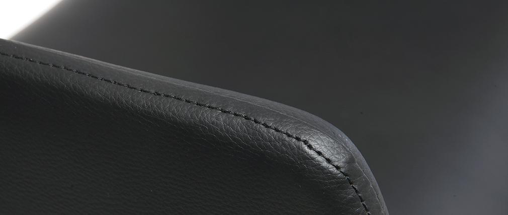 Tabouret de bar design polyuréthane noir et bois foncé RAY