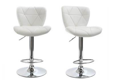 Tabouret de bar design PU blanc lot de 2 DEREK