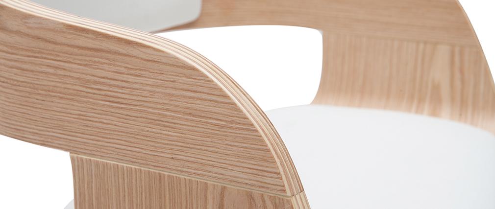 Tabouret de bar design réglable blanc et bois clair EUSTACHE