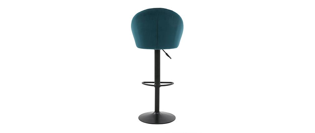 Tabouret de bar design réglable et pivotant en velours bleu pétrole IZAAC