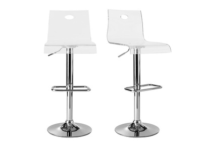 Tabouret de bar design SATURNE plexiglas transparent (Lot de 2)