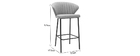 Tabouret de bar design tissu gris 65 cm DALLY