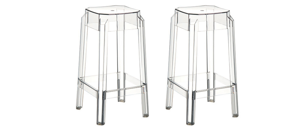 Tabouret de bar design transparent 65cm lot de 2 CLEAR