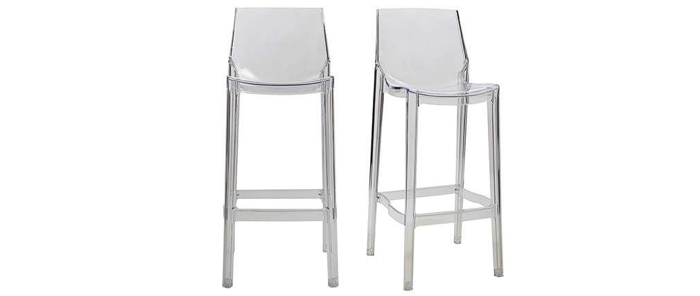 Tabouret de bar design transparent lot de 2 YLAK
