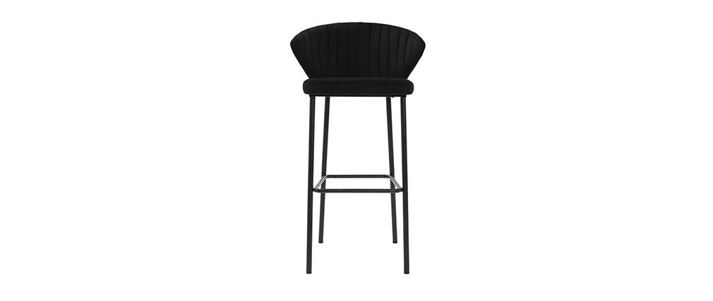 Tabouret de bar design velours noir H78 cm DALLY - Miliboo & Stéphane Plaza