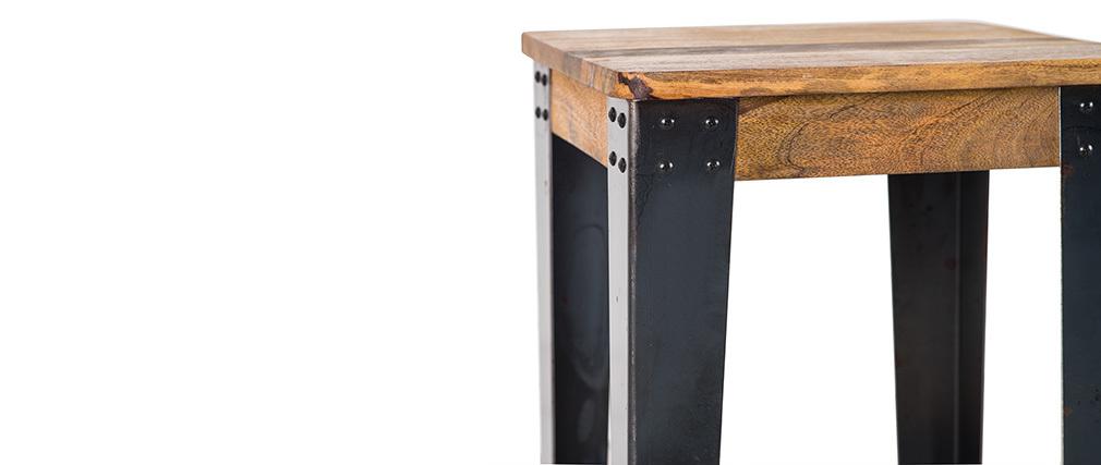 Tabouret de bar industriel acier et manguier massif H75 cm MADISON