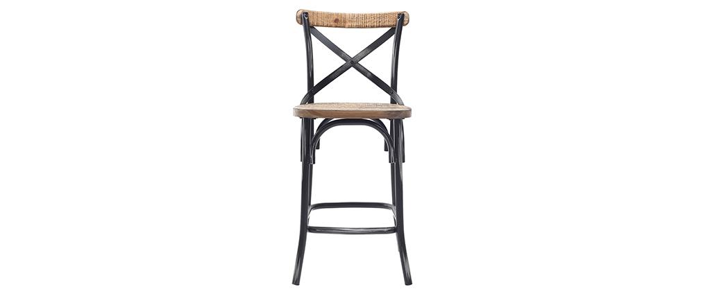Tabouret de bar industriel en bois et métal vieilli noir 65 cm JAKE