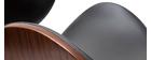 Tabouret de bar pivotant noir et bois foncé 65 cm WALNUT