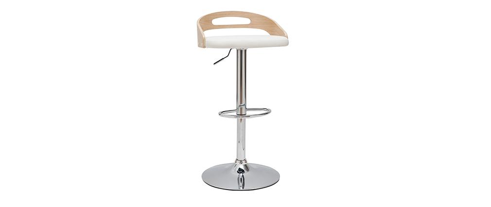 Tabouret de bar réglable design bois clair et blanc MANO