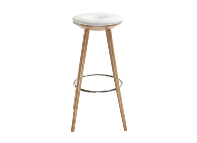Tabouret de bar style scandinave blanc pieds bois clair  79cm  NORDECO
