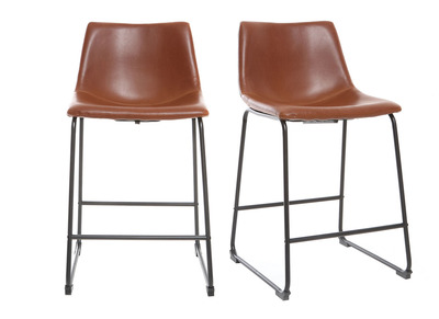 Tabouret de bar vintage PU marron clair 61cm lot de 2 NEW ROCK