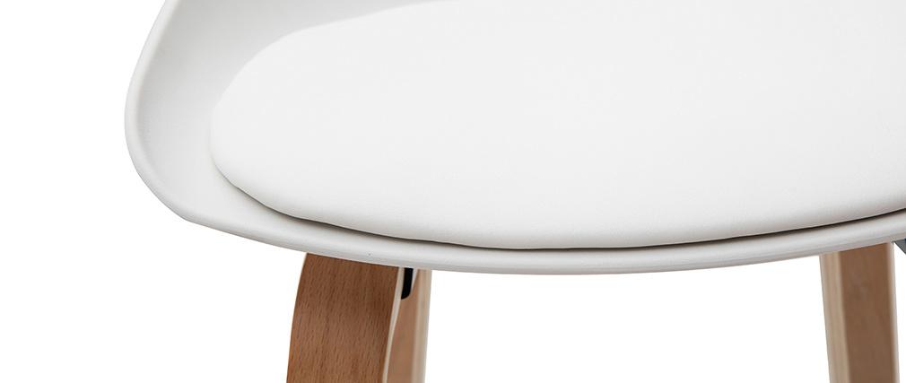 Tabourets de bar blanc et pieds bois 75 cm (lot de 2) LINO