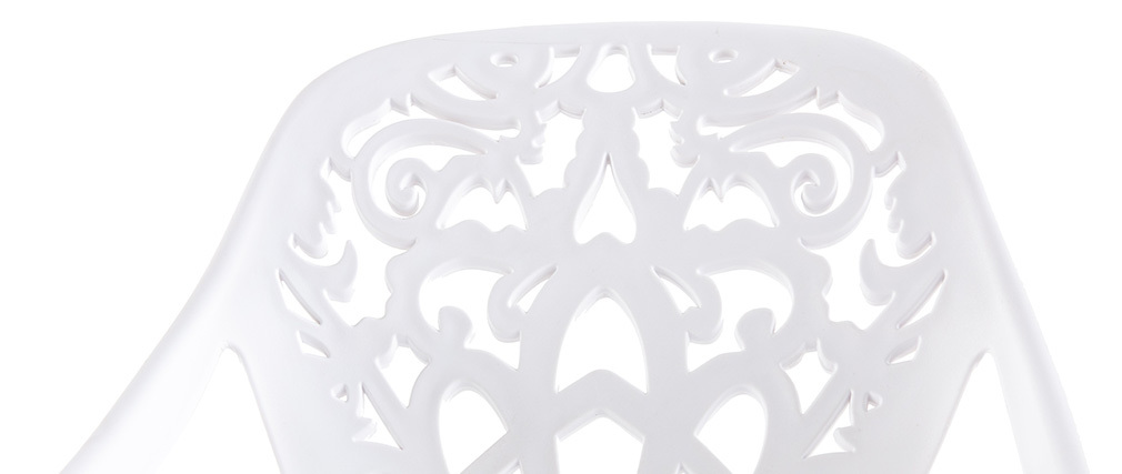 Tabourets de bar design avec motif baroque blanc (lot de 2) BAROCCA
