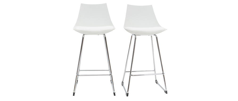 Tabourets de bar design blancs 65 cm (lot de 2) JUNE
