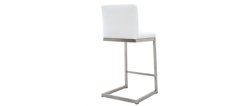 Tabourets de bar design blancs avec pieds métal (lot de 2) STELLAR
