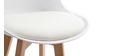 Tabourets de bar design blancs et bois 75 cm (lot de 2) PAULINE
