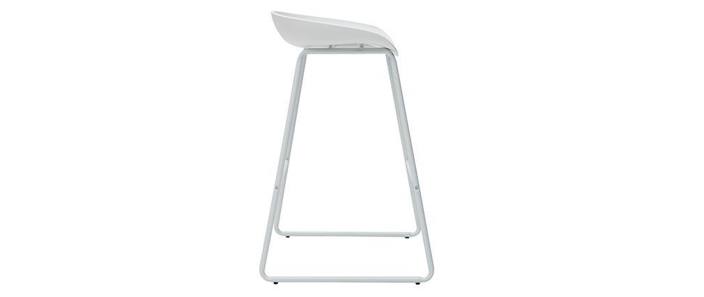 Tabourets de bar design blancs H75 cm  (lot de 2) PEBBLE