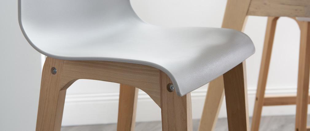 Tabourets de bar design bois et gris clair H65 cm (lot de 2) NEW SURF