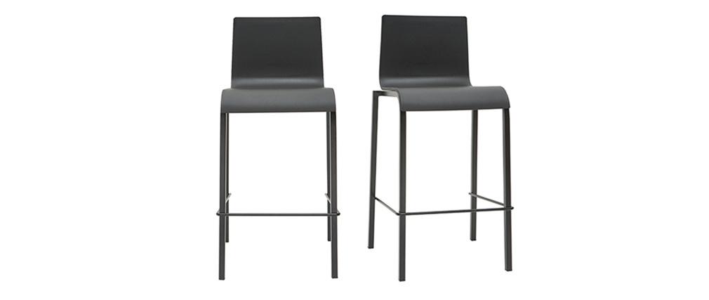 Tabourets de bar design empilables noirs H65 cm (lot de 2) KUPA