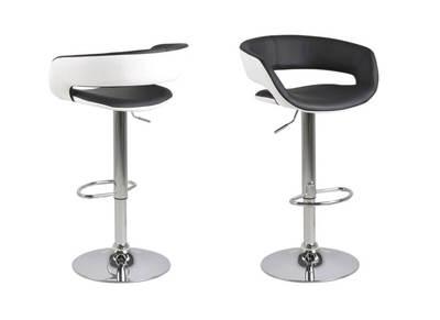 Tabourets de bar design lot de 2 noir et blanc simili cuir GRAVIT V2