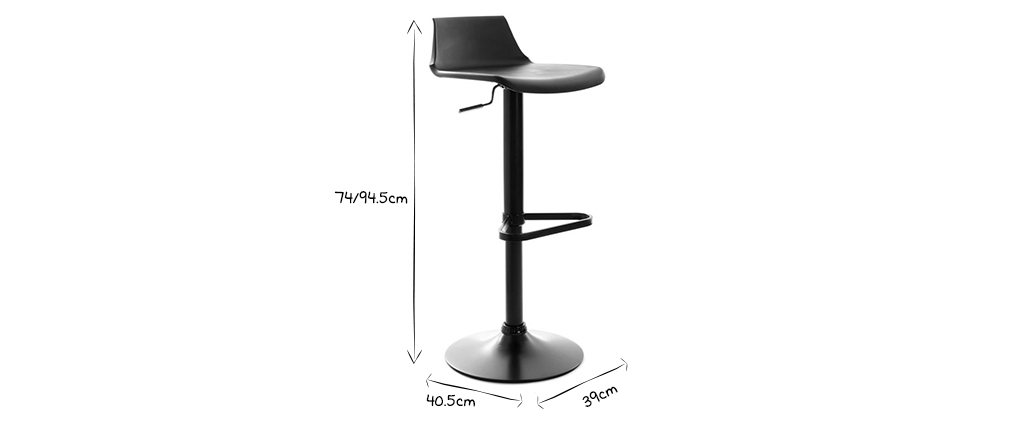 Tabourets de bar design noirs (lot de 2) KRONOS